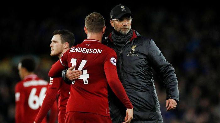 Liverpool gagal mempertahankan puncak klasemen setelah ditahan Everton 0-0 di Goodison Park, Minggu (3/3/2019). (Foto: Phil Noble/Reuters0