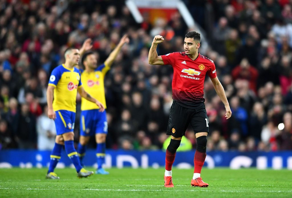 MANCHESTER, ENGLAND - MARCH 02: Andreas Pereira of Manchester United celebrates after scoring his team's first goal during the Premier League match between Manchester United and Southampton FC at Old Trafford on March 02, 2019 in Manchester, United Kingdom. (Photo by Clive Mason/Getty Images)