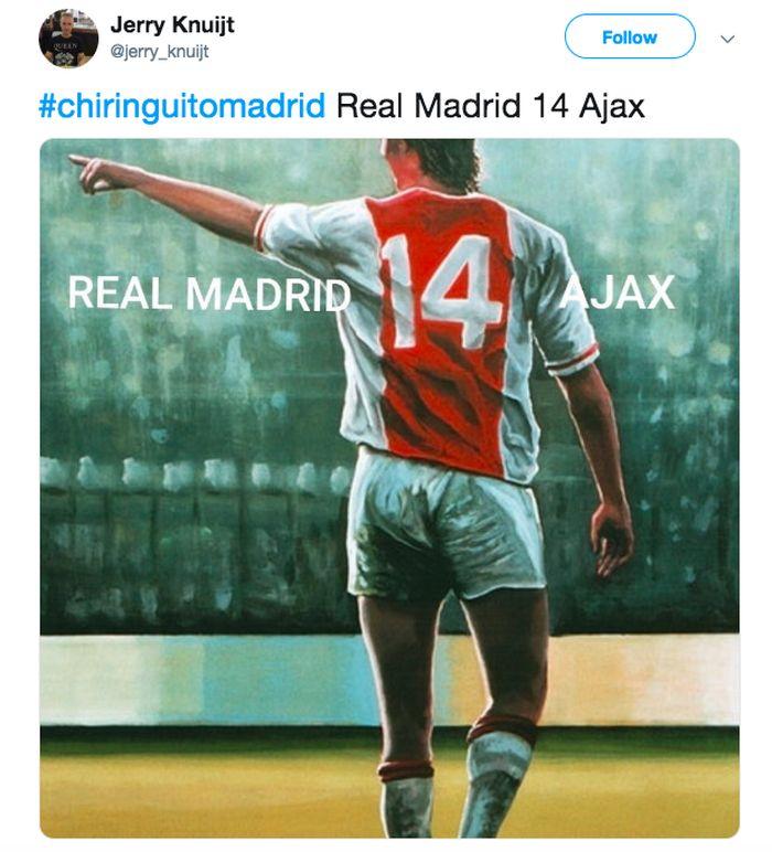 Di Santiago Bernabeu, Rabu (6/6/2019) dinihari WIB, Madrid menelan kekalahan 1-4 dari Ajax. Nomor punggung Johan Cruyff menjadi ilustrasinya. (Foto: istimewa)