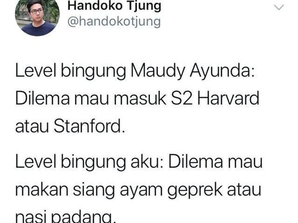 Maudy Ayunda Dilema Pilih S2, Ini Cuitan Kocak Netizen Saat Dilema Pilih Makanan