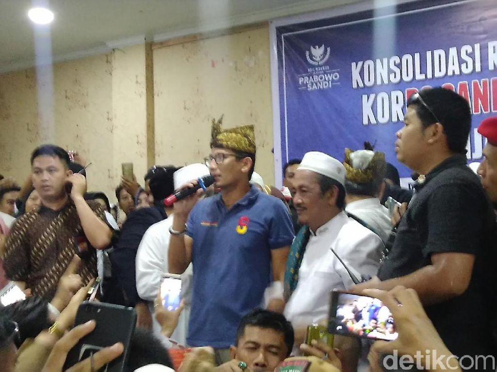 Sandiaga ke Emak-emak Banjar: Kerja Keras dan Amankan TPS