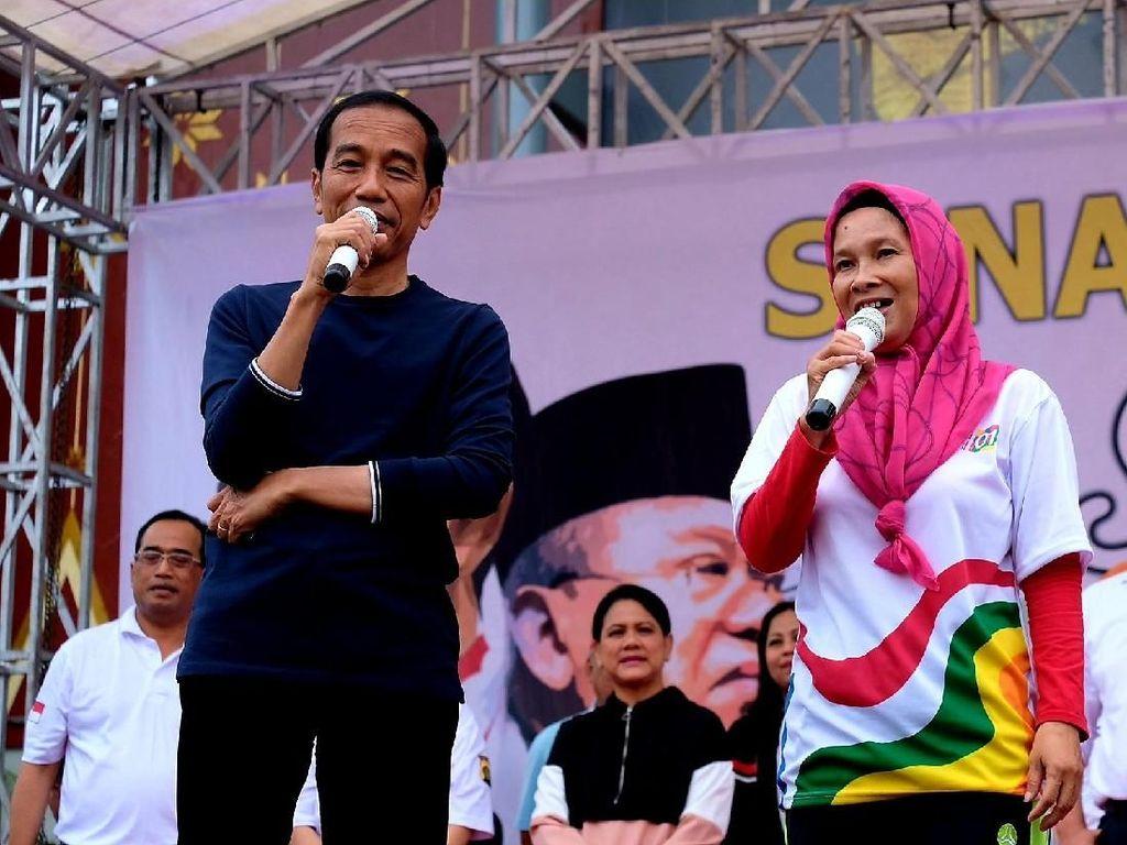 Senam Pagi di Palembang, Jokowi Minta Pendukungnya Luruskan Hoax