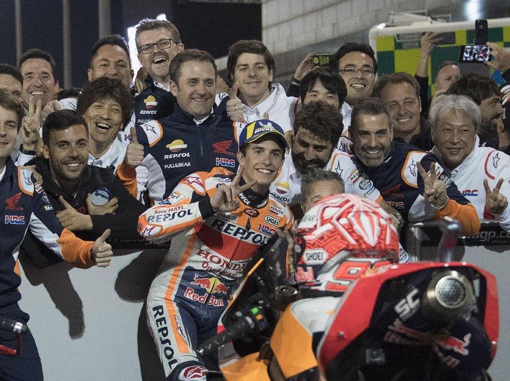 Gagal Lagi Kalahkan Dovizioso, Marquez Puas Posisi Dua di MotoGP Qatar