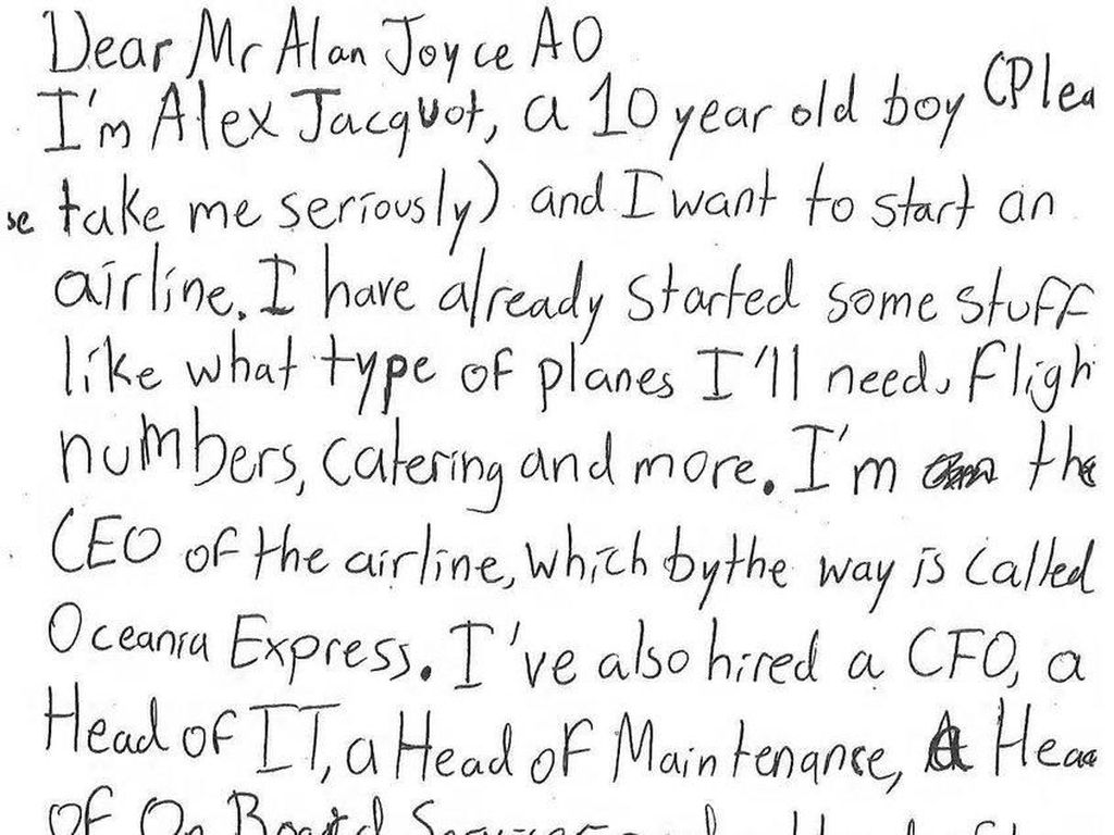 Viral di Twitter! Bos Maskapai Qantas Balas Surat Bocah 10 Tahun