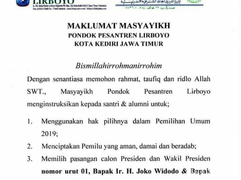 Ponpes Lirboyo Keluarkan Maklumat agar Santri Pilih Jokowi-Maruf