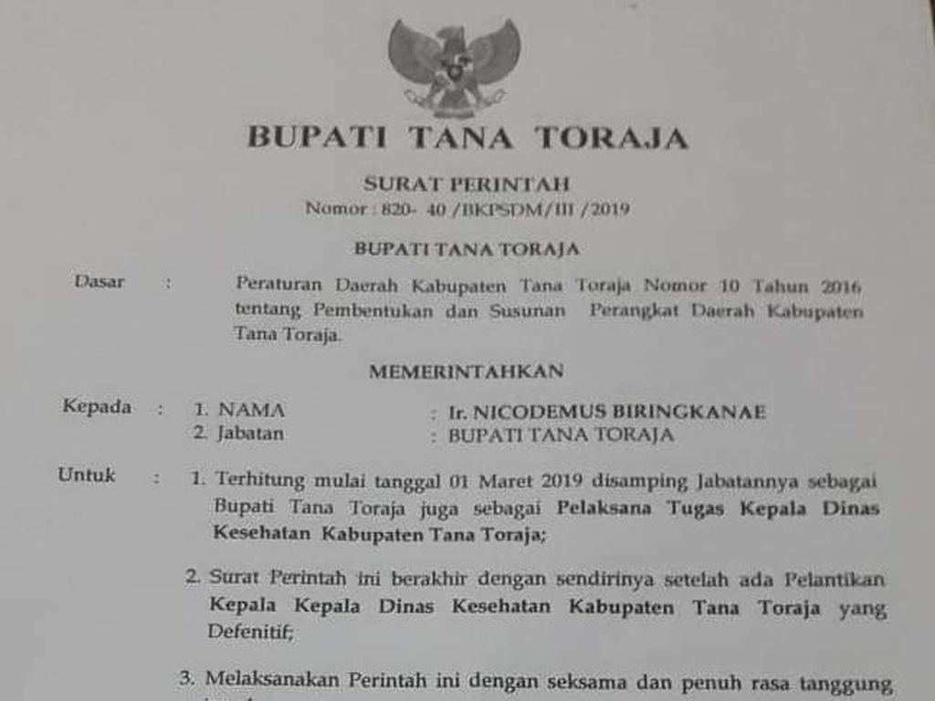 Bupati Tana Toraja Lantik Diri Sendiri, Ombudsman: Itu Maladministrasi!