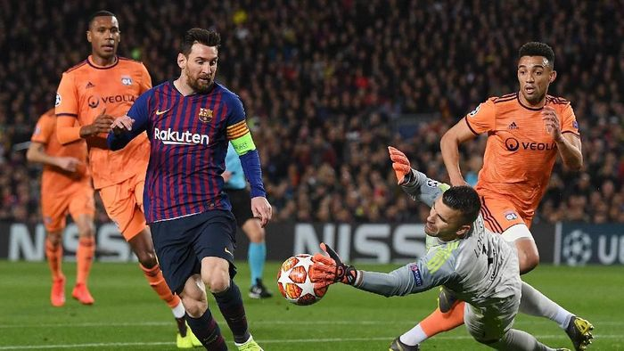 Barca dan Lyon bermain dengan skor 0-0 saat bertemu di leg pertama 16 besar. Dalam laga di Camp Nou, Kamis (14/3/2019) dinihari WIB, pada leg kedua, Barca sangat perkasa. (Foto: David Ramos/Getty Images)