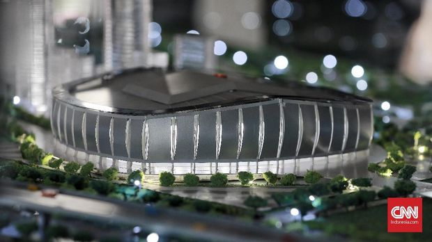 Maket Jakarta International Stadium atau Stadion BMW.