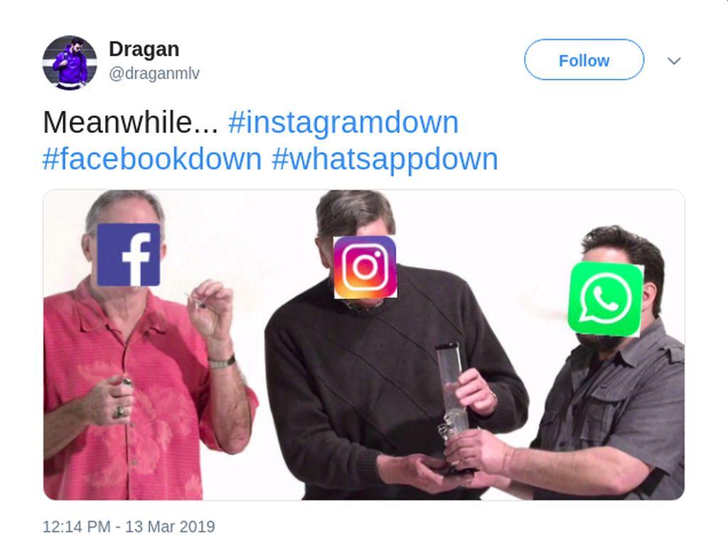 Meme Kocak Facebook, WhatsApp dan Instagram Tumbang