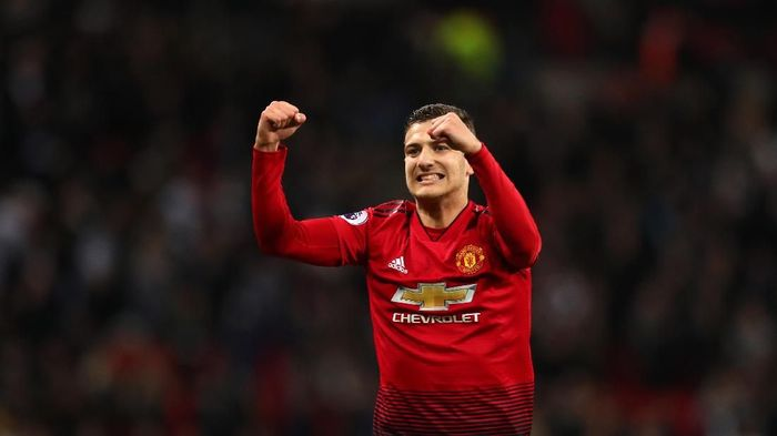 LONDON, ENGLAND - JANUARY 13: Diogo Dalot of Manchester United celebrates after the Premier League match between Tottenham Hotspur and Manchester United at Wembley Stadium on January 13, 2019 in London, United Kingdom. (Photo by Catherine Ivill/Getty Images)
