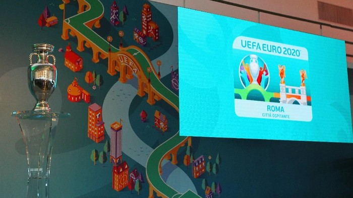 ROME, ITALY - SEPTEMBER 22:  A general view of the UEFA Euro Roma 2020 Official Logo unveiling at Palazzo delle Armi on September 22, 2016 in Rome, Italy.  (Photo by Paolo Bruno/Getty Images)