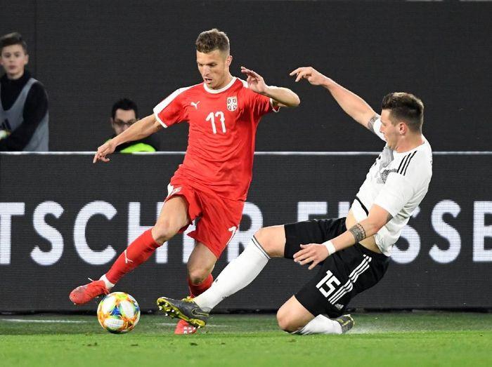 Timnas Jerman ditahan Timnas Serbia 1-1 di laga persahabatan yang berlangsung di Volkswagen Arena, Wolfsburg, Jerman, Kamis (21/3/2019) dini hari WIB. (Foto: Fabian Bimmer/Reuters)