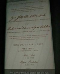 Undangan pernikahan Ammar Zoni dan Irish Bella