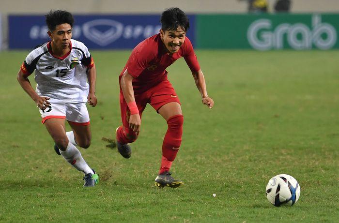 Pertandingan sepak bola Grup K kualifikasi Piala Asia U-23 AFC 2020 digelar di Stadion Nasional My Dinh, Hanoi, Vietnam, Selasa (26/3/2019). Tim nasional Indonesia U-23 mengalahkan tim nasional Brunei Darussalam U-23 dengan skor 2-1.
