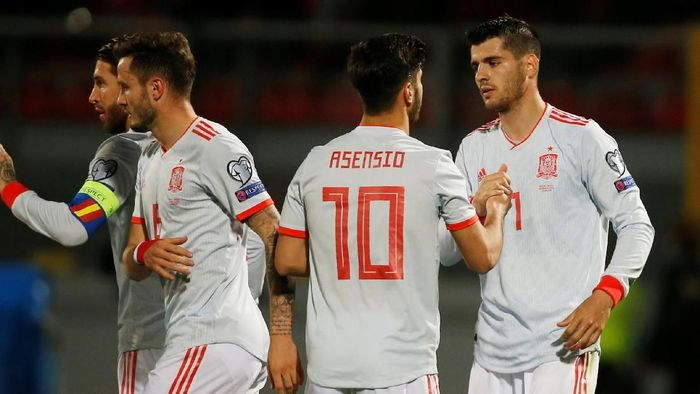 Alvaro Morata bikin dua gol saat Spanyol mengalahkan Malta 2-0 di lanjutan Kualifikasi Piala Eropa 2020. (Foto: Darrin Zammit/Reuters)