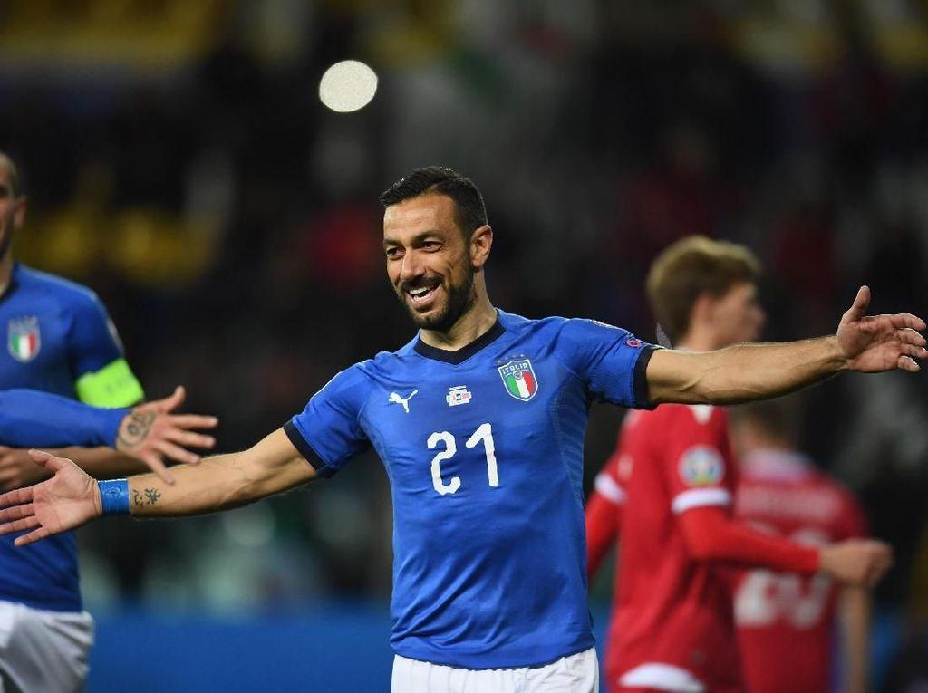 Mancini Tak Tutup Kemungkinan Panggil Quagliarella untuk Euro 2020
