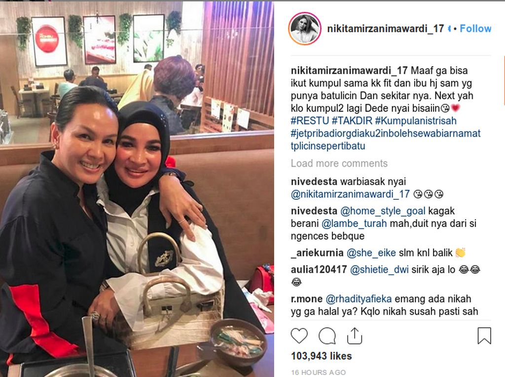 Posting Foto Diduga Istri Pak Haji, Nikita Mirzani Bikin Heboh