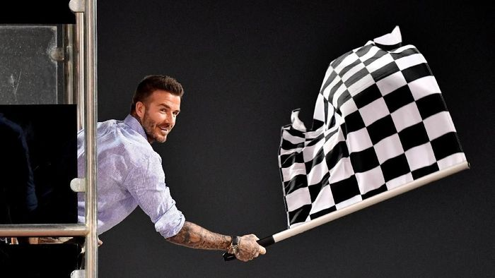 David Beckham di GP Bahrain. (Andrej Isakovic/Pool via REUTERS)