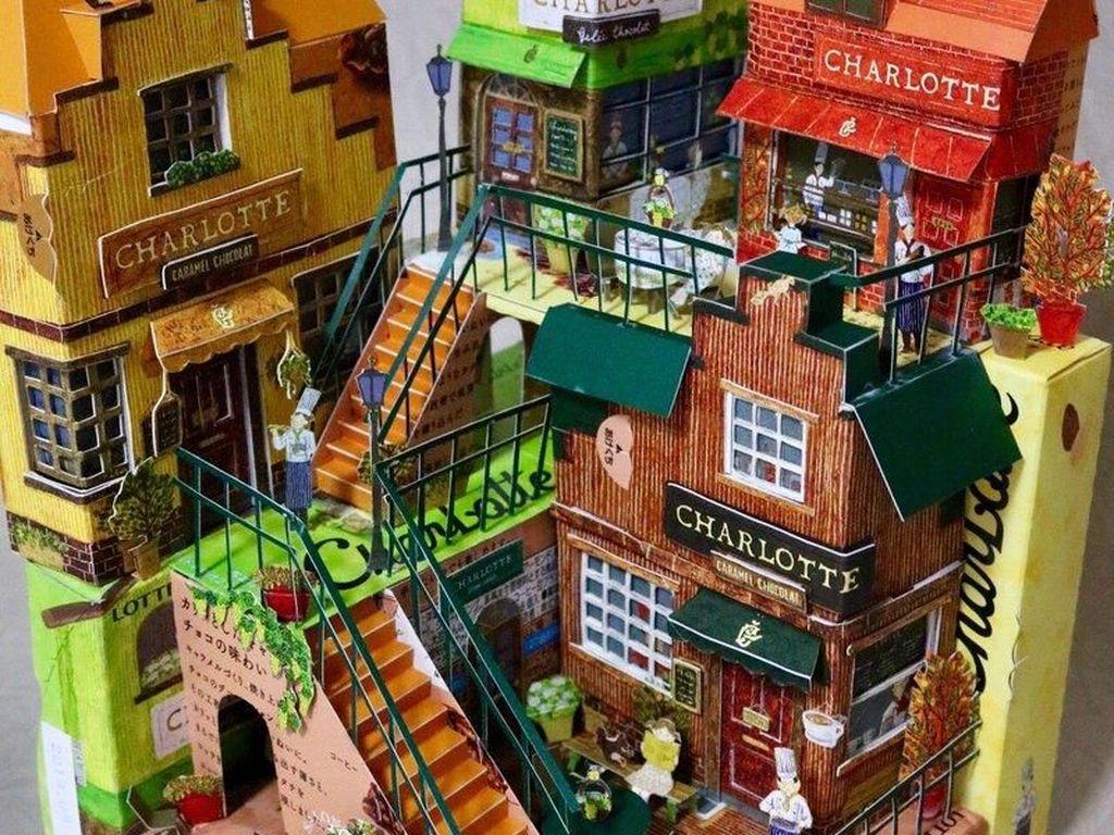 Cantiknya! Kotak Cokelat Ini Dibuat Jadi Susunan Rumah Cantik