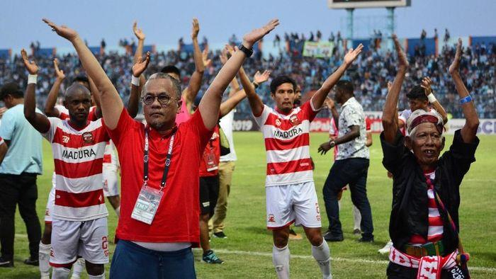 Manajer Madura United Haruna Soemitro (Syaiful Arif/Antara)