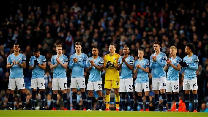 The Citizensmenang 2-0 saat berhadapan dengan Cardiff di Etihad Stadium, Kamis (4/4/2019). City bermain dominan pada laga itu. (Foto: Phil Noble/Reuters)