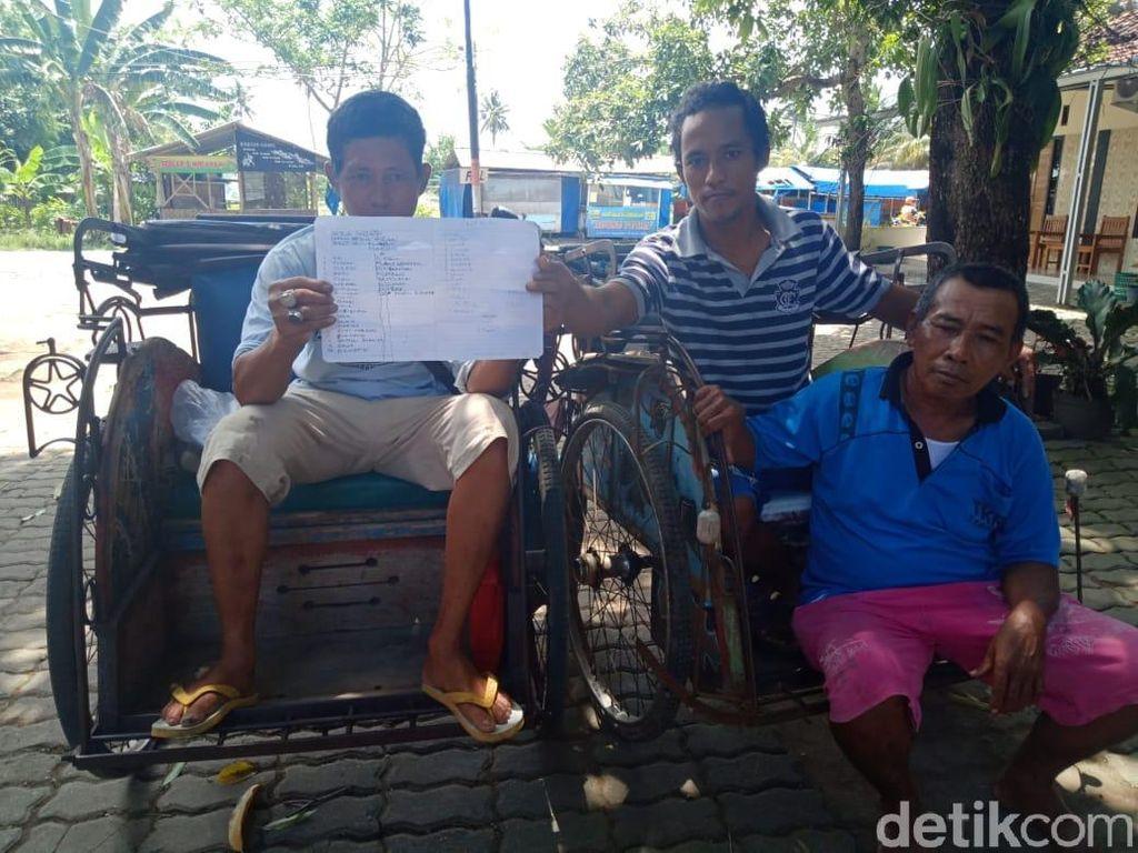 Pengemudi Becak Protes Transportasi Online Masuk Pangandaran