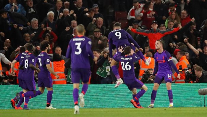 Liverpool merayakan kemenangan atas Southampton. (Foto: David Klein/Reuters)