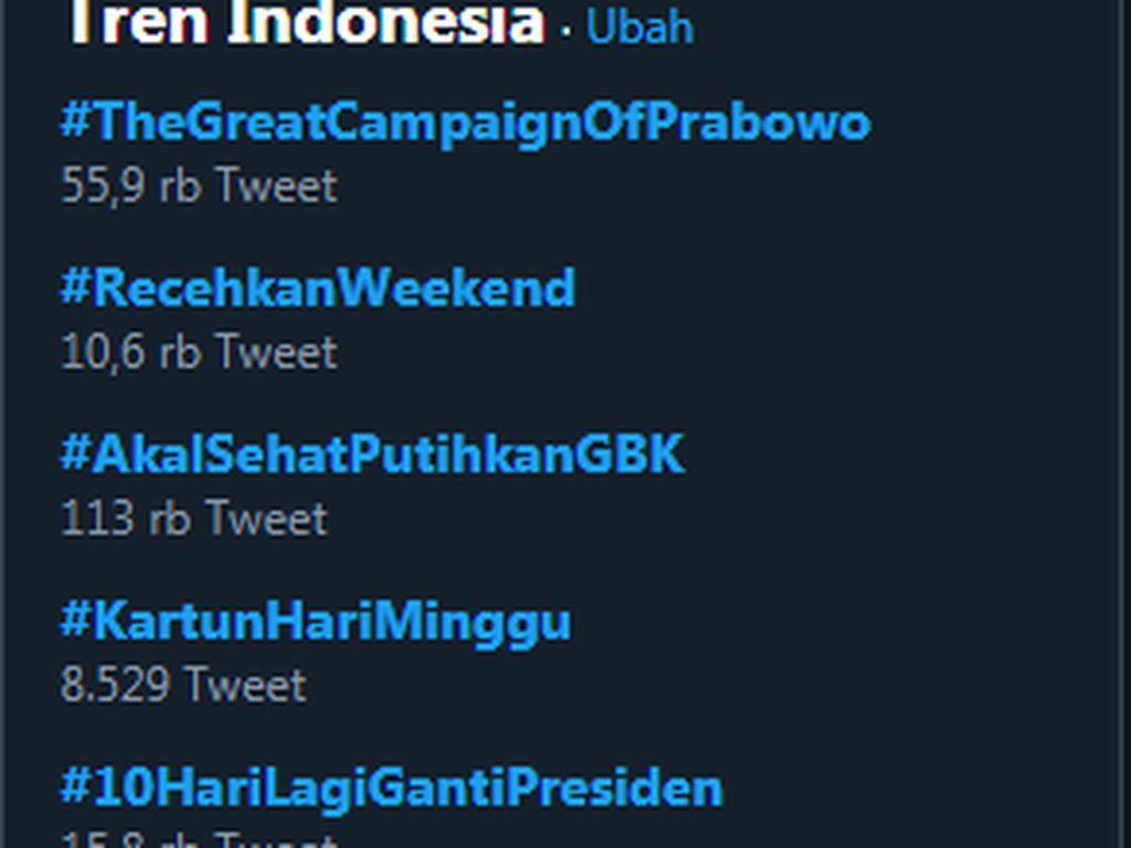 #TheGreatCampaignOfPrabowo Trending di Twitter
