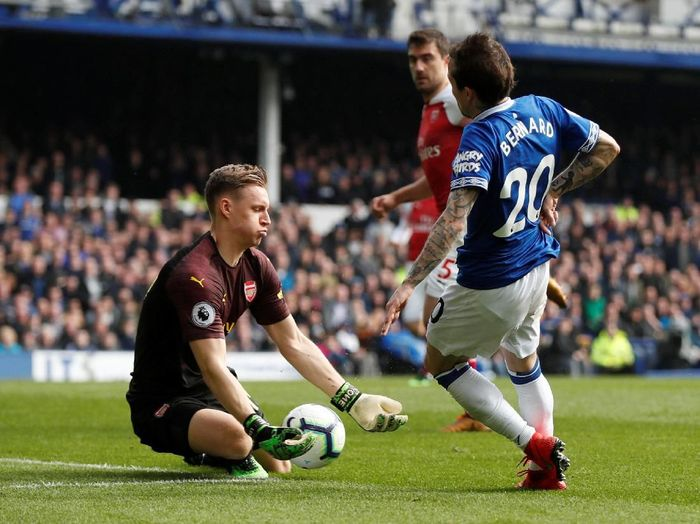 Aksi Bernd Leno saat Arsenal ditaklukkan Everton 0-1. (Foto: Lee Smith/Actions Images via Reuters)