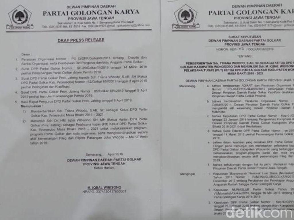 Ketua Golkar Wonosobo Resmi Dipecat Karena Dukung Prabowo-Sandi