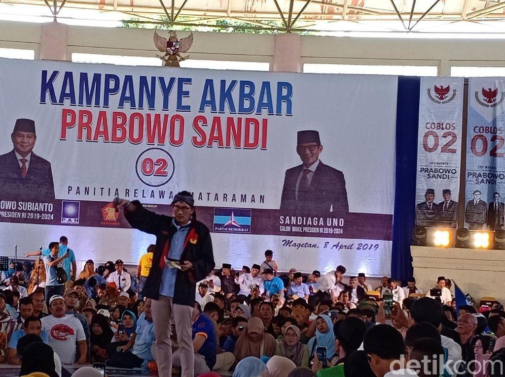 Tanya Utang Warga Saat Kampanye di Magetan, Sandiaga: Insyaallah 2019 Kita Lunasi Utangnya