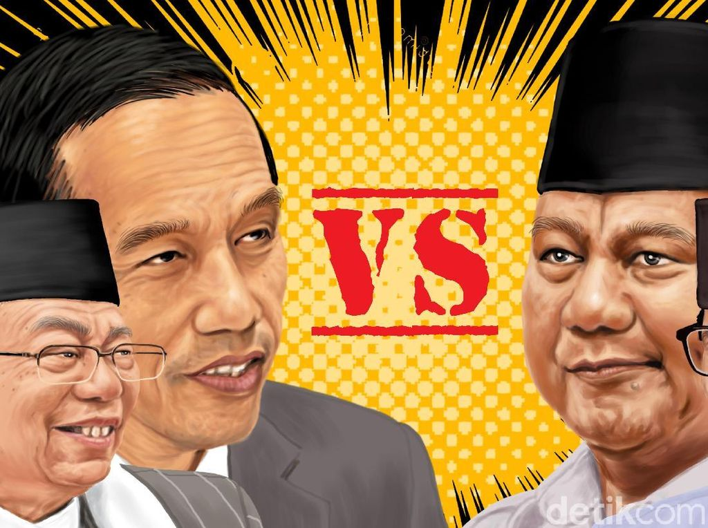 Quick Count Sementara Median: Jokowi 55,71% Prabowo 44,29%