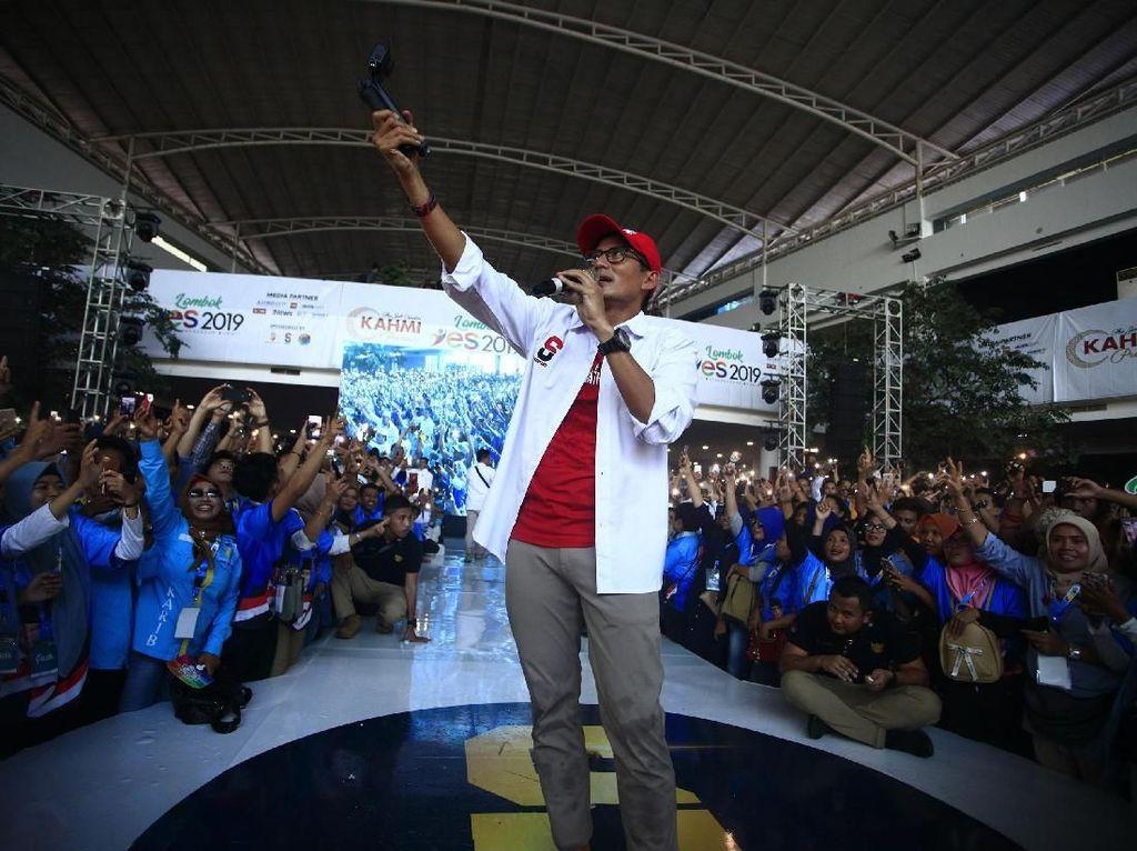 Ke Milenial Lombok, Sandiaga: Mau Kerja Keras atau Ganti Presiden?