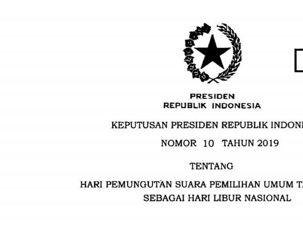 Pemerintah Keluarkan Keppres Libur Nasional 17 April 2019