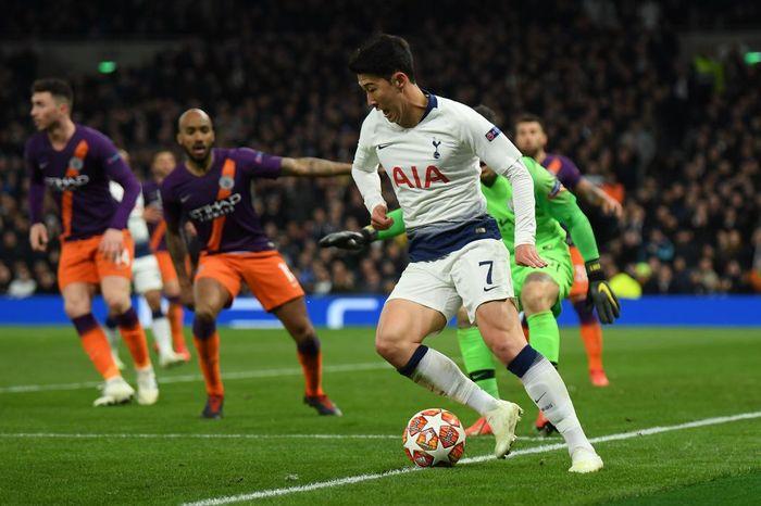 Tottenham Hotspur sukses meraih kemenangan saat menjamu Manchester City di leg I perempatfinal Liga Champions. The Lilywhites menang 1-0 berkat Son Heung-Min. Mike Hewitt/Getty Images.