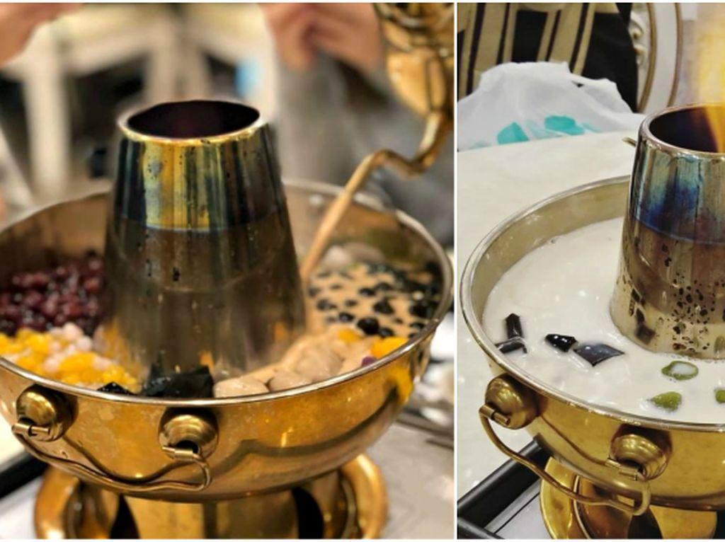 Lagi Tren! Bubble Tea Disajikan Dalam Wadah Hotpot