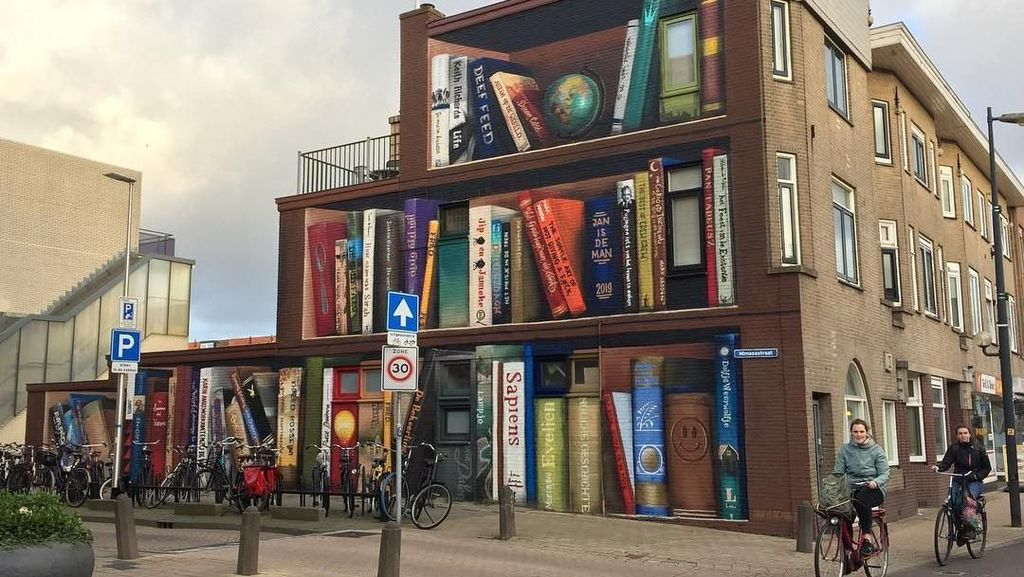 Foto Viral di Instagram, Mural Rak Buku Raksasa di Belanda