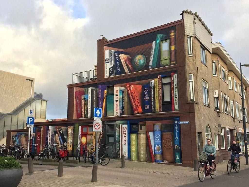 Viral di Instagram, Mural Rak Buku Raksasa dari Belanda