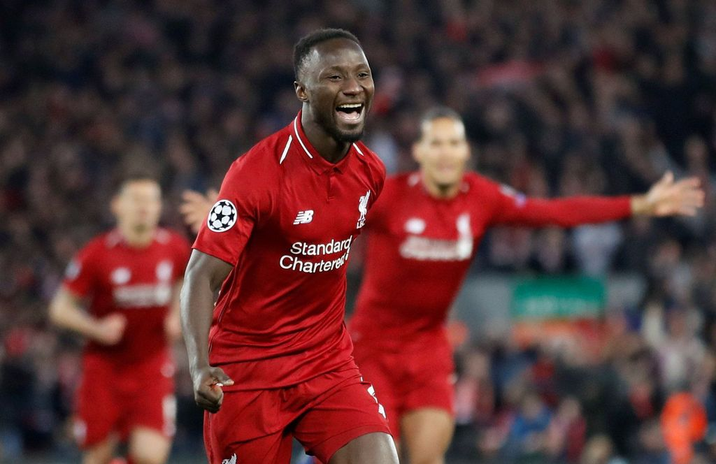Soccer Football - Champions League Quarter Final First Leg - Liverpool v FC Porto - Anfield, Liverpool, Britain - April 9, 2019  Liverpool's Naby Keita celebrates scoring their first goal  Action Images via Reuters/Carl Recine