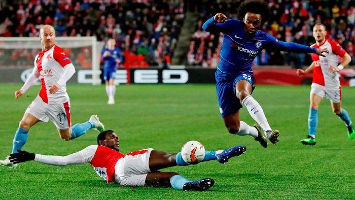 Chelsea susah payah mengalahkan Slavia Praha dengan skor 1-0 pada leg I perempatfinal Liga Europa. (Foto: Paul Childs/Reuters)