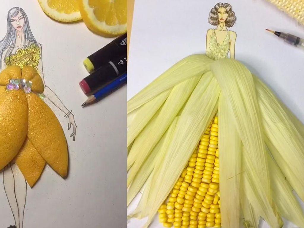 Seniman Asal China Ini Rancang Gaun Keren dari Sayuran dan Buah