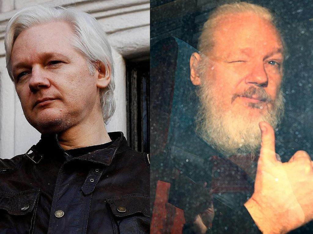 Potret Before-After Julian Assange Sebelum Ditangkap