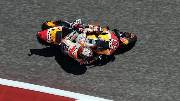 Marc Marquez unggul atas Valentino Rossi pada latihan bebas hari pertama MotoGP Amerika Serikat 2019.