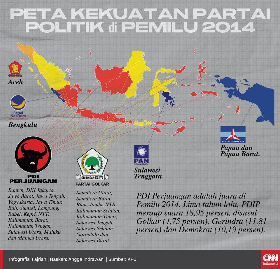 Infografis Peta Kekuatan Partai Politik di Pemilu 2014