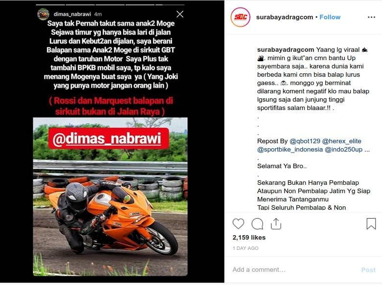 Rider CBR250RR Tantang Moge Balapan di Sirkuit, Taruhannya Motor