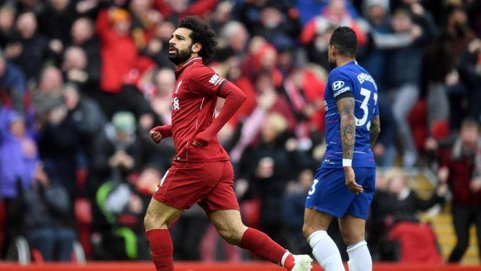 Mohamed Salah menyusul Sergio Aguero di daftar top skor Liga Inggris. (Foto: Michael Regan/Getty Images)