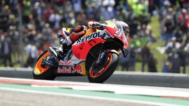 Marc Marquez terjatuh di MotoGP Amerika Serikat. (