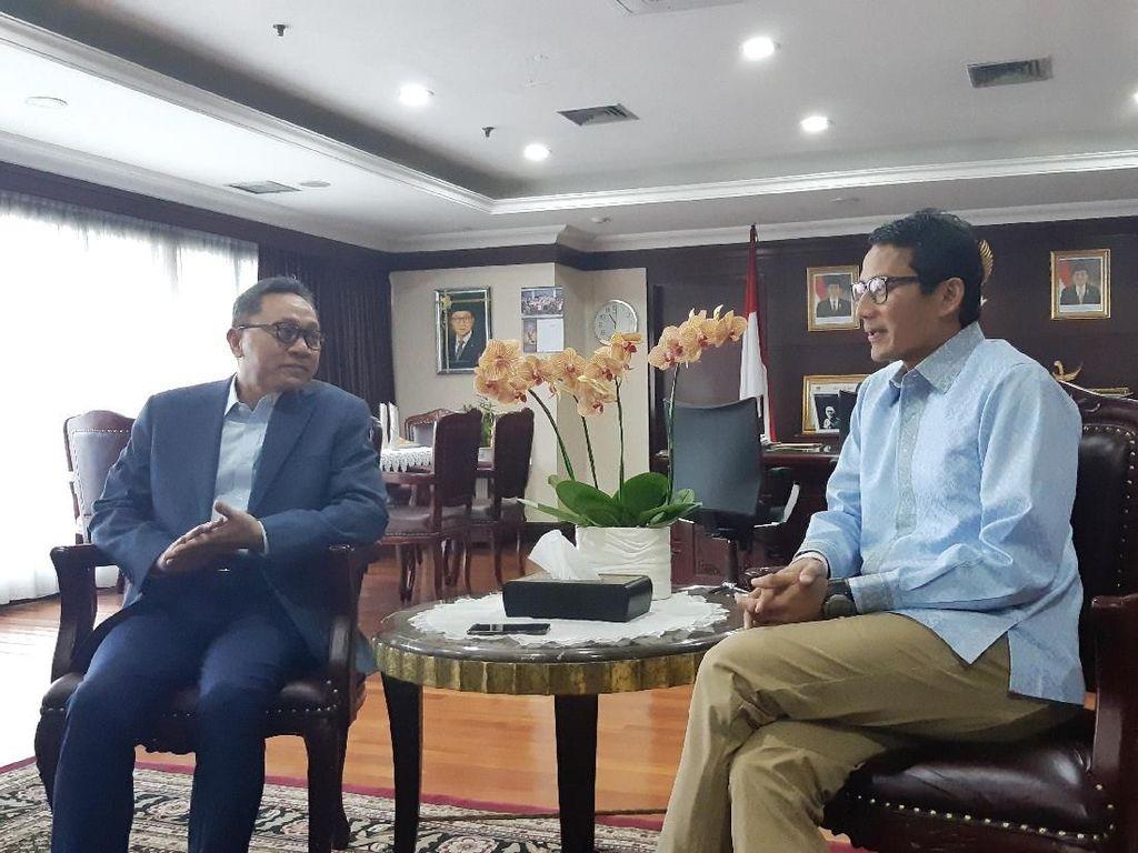 Bahas Pemilu Damai, Sandiaga Temui Ketua MPR