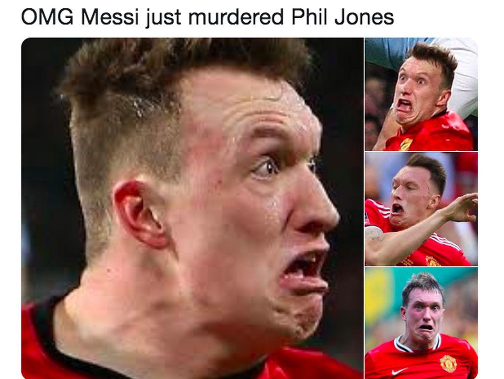 Phil Jones Dikerjai Lionel Messi Ramai Jadi Meme