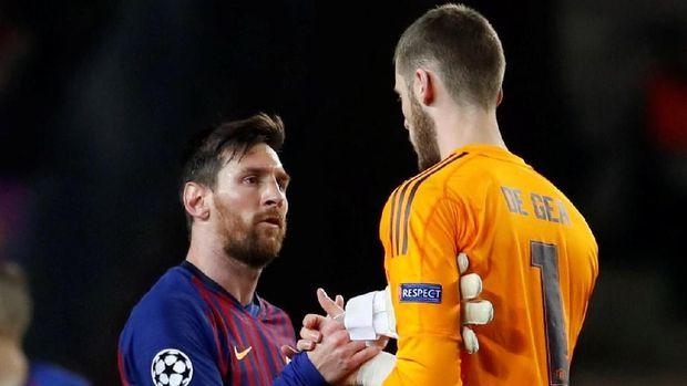 David de Gea dua kali gawangnya dijebol Lionel Messi